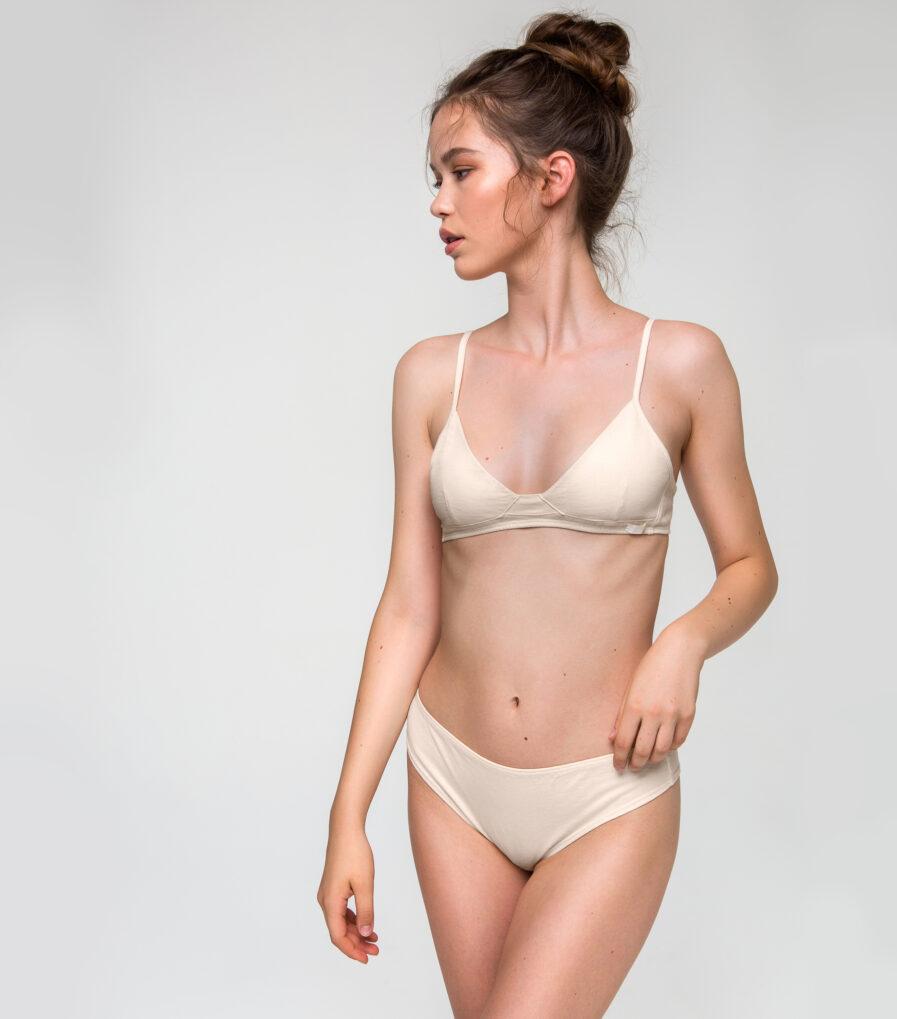 Béžové bavlnené nohavičky brazílky z organickej bavlny